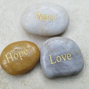 Peace love hope inspi 3 river rocks stones weights